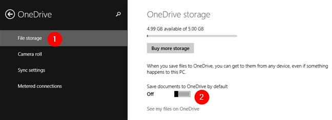 El conmutador Guardar documentos en OneDrive de forma predeterminada