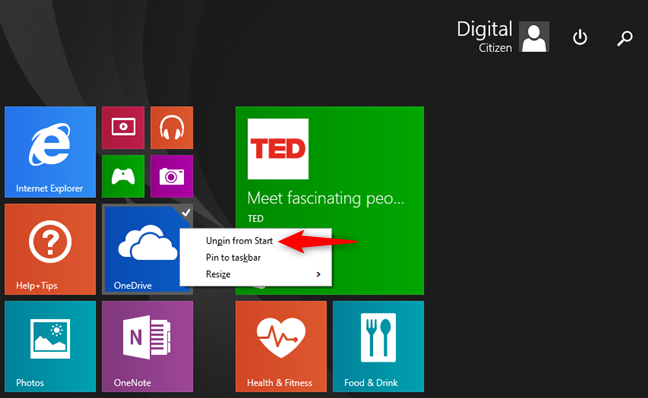 Desanclar OneDrive de la pantalla de Inicio de Windows 8.1