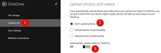 No cargue fotos y no cargue videos automáticamente a OneDrive