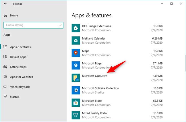 La aplicación Microsoft OneDrive que se muestra en Aplicaciones & amp;  lista de características