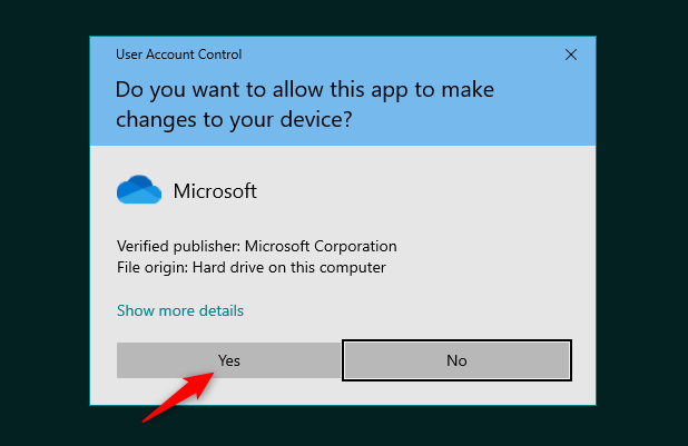 Uninstall OneDrive: UAC notification