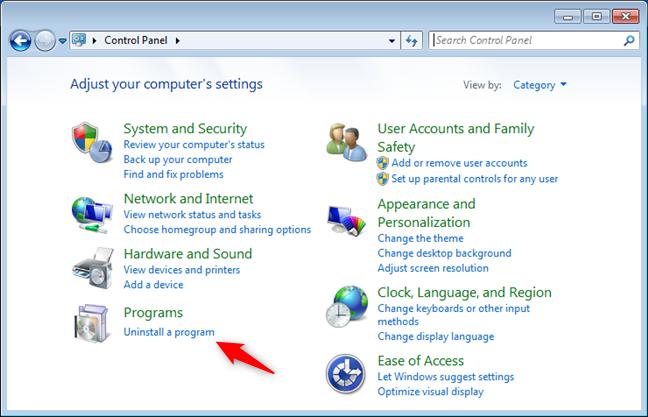 Desinstalar un enlace de programa del Panel de control de Windows 7
