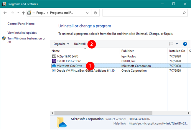 Desinstalar Microsoft OneDrive del Panel de control