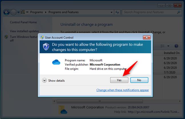 Notificación de UAC para confirmar que desea eliminar OneDrive