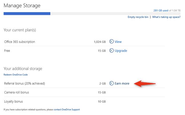 El bono de referencia puede brindarle otros 10 GB de espacio de almacenamiento gratuito en OneDrive