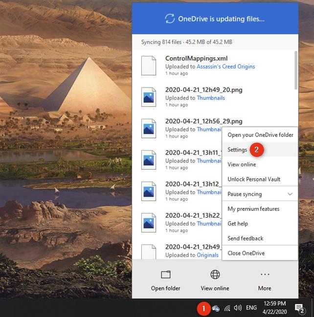 La opción Configuración del menú de OneDrive