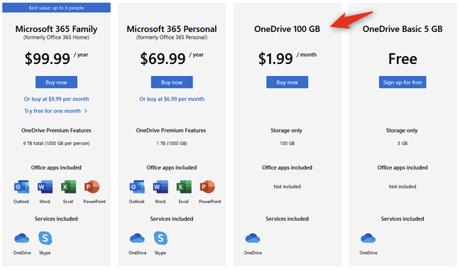 OneDrive 100 GB cuesta 1,99 USD al mes