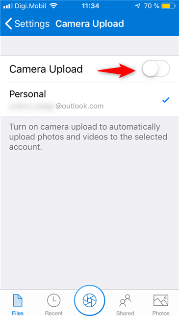 The Camera Upload switch from OneDrive for iPhone