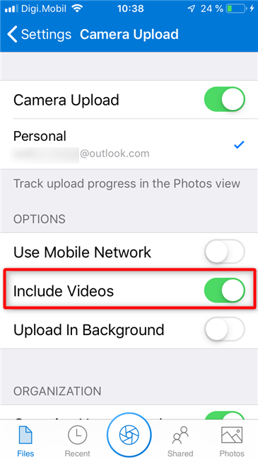 Selecting whether to include videos in the OneDrive backups