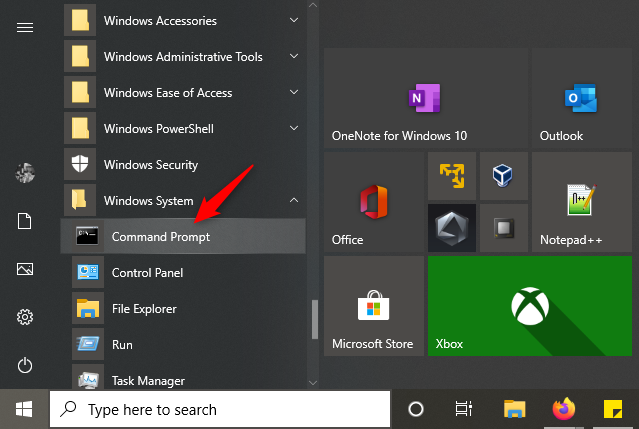 How to open Command Prompt from Windows 10's Start Menu