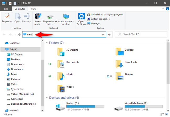 Open Command Prompt from File Explorer