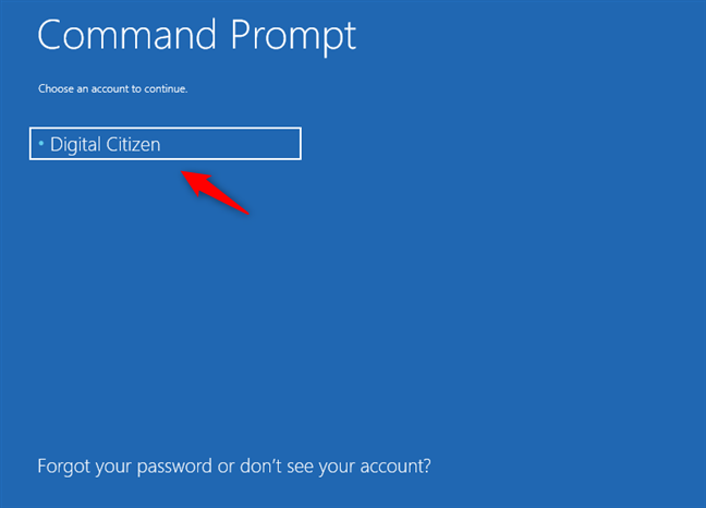 Choosing the admin user account to use