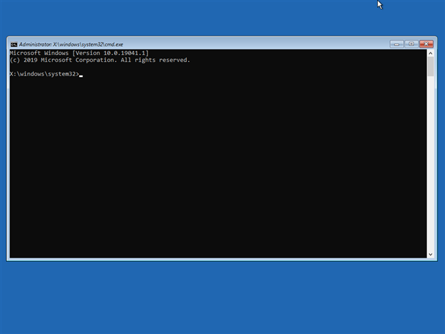 The Command Prompt is opened