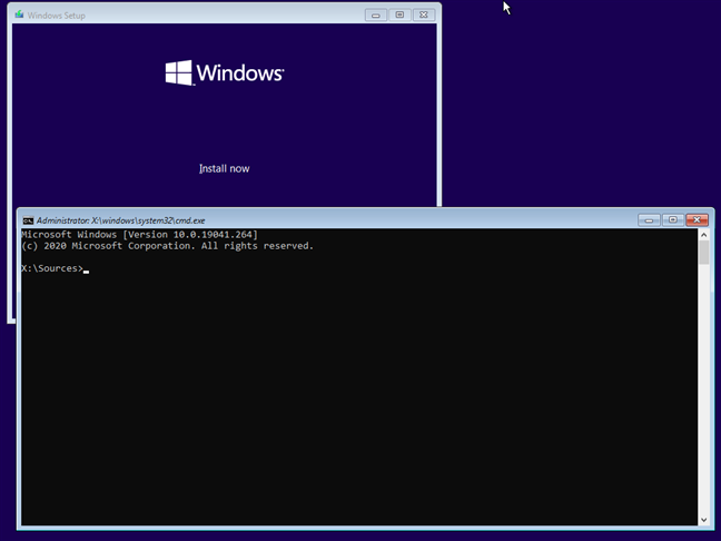 Press Shift + F10 to open Command Prompt when installing Windows 10