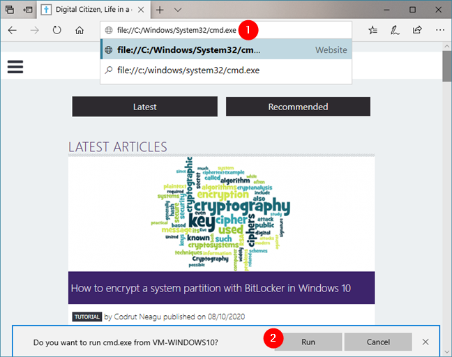 Open Command Prompt from Microsoft Edge