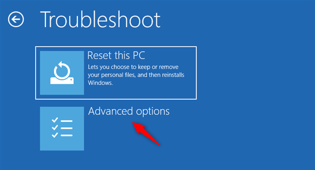 The Advanced options button from the Troubleshoot screen