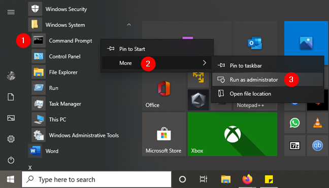 Command Prompt Run as administrator in the Start Menu from Windows 10