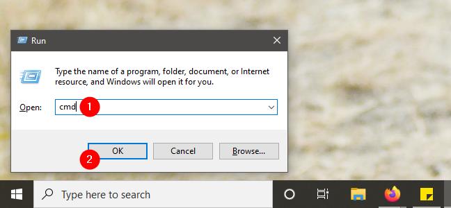 Start Command Prompt using the Run Window