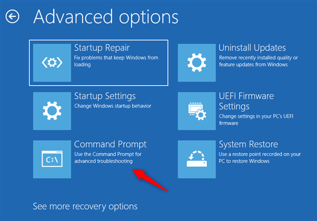 Open Command Prompt from Windows 10's recovery options