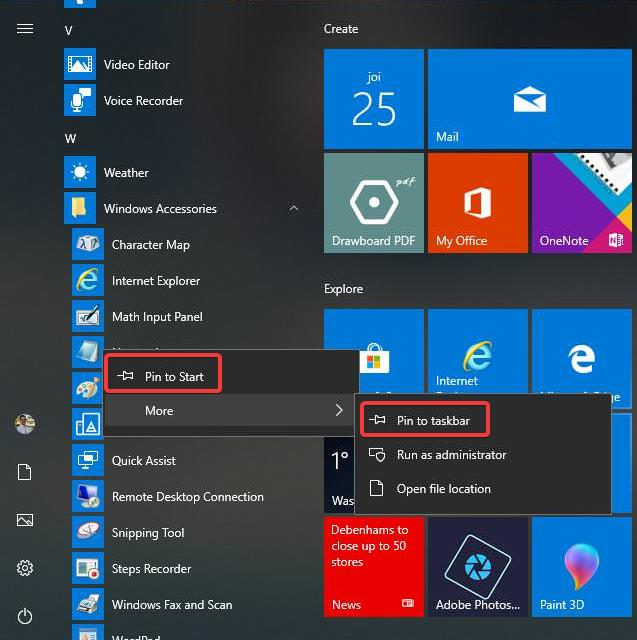 Pin to Start and Pin to taskbar the Notepad app in Windows 10