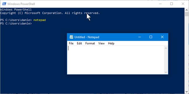 Start Notepad in PowerShell
