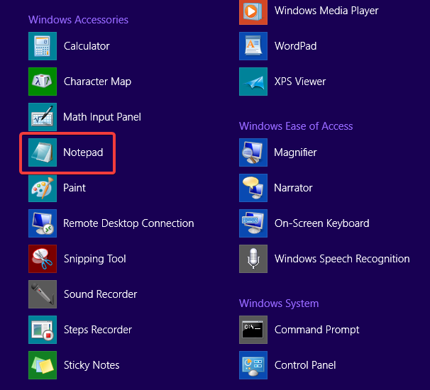 The Notepad shortcut on the Windows 8.1 Start Screen