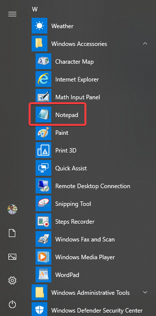 Notepad in the Start Menu from Windows 10