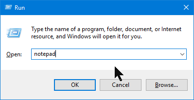 Start Notepad using the Run window