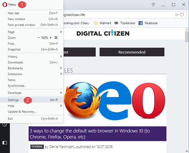 Accessing Opera's settings