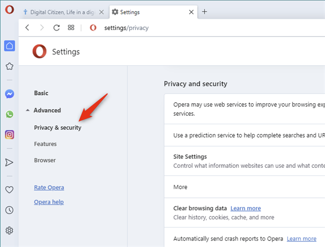 Opera's Privacy & security settings