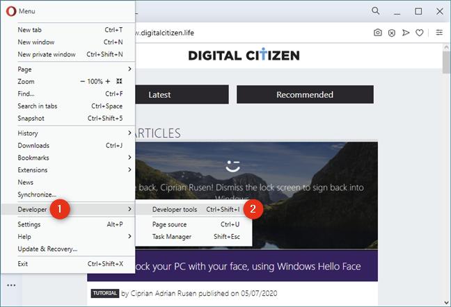 Developer tools in Opera