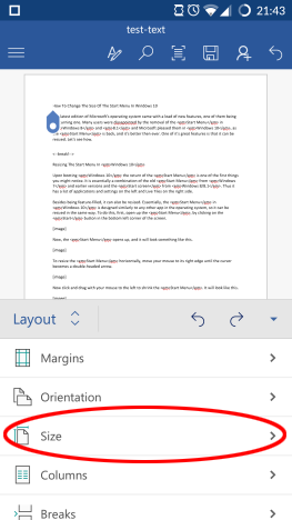 Android, Microsoft, Office, Word, document, page, layout, margins, format, print