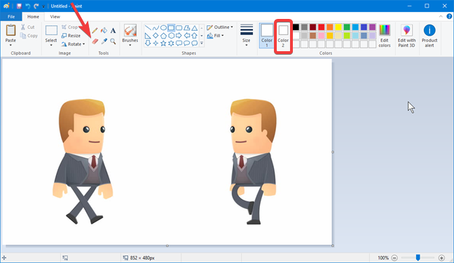 The Eraser tool from Paint