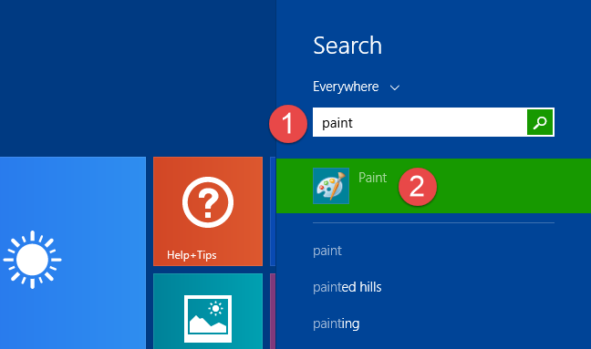 Searching for Paint in Windows 8.1