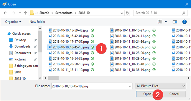 Window for opening a file in Paint in Windows 10