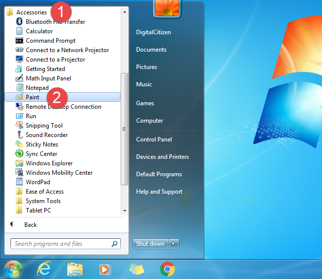 The Paint shortcut form the Windows 7 Start Menu
