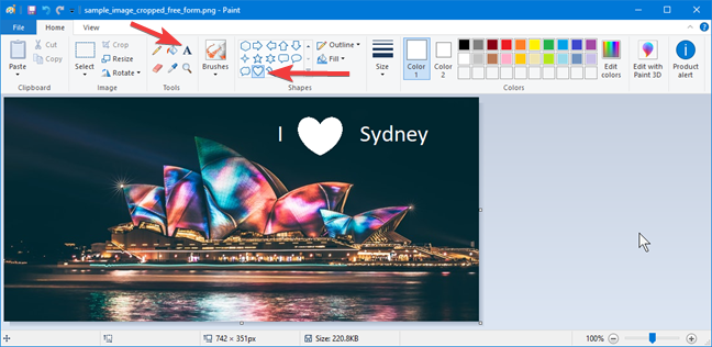 Typing and drawing over an image in Paint