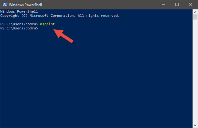 The command for starting Paint from Command Prompt or PowerShell