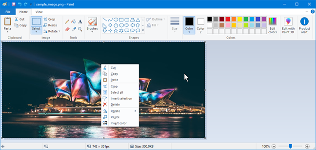 Inverting colors in Paint from Windows 10