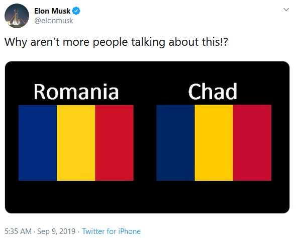 Elon Musk tweet about the flags of Romania and Chad