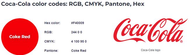 Coca Cola's red color codes