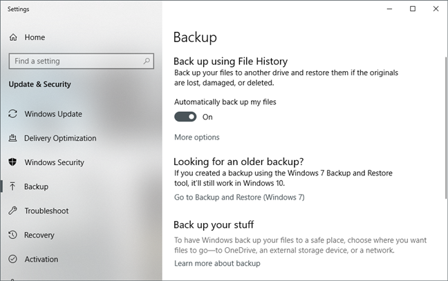 Backup options in Windows 10
