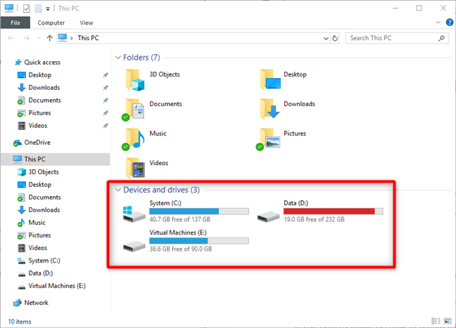 File Explorer in Windows 10, showing all the drives and partitions