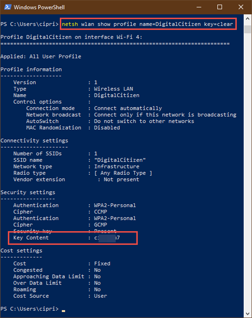 Seeing the details of a wireless network in PowerShell