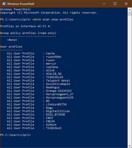 A list with the wireless networks stored by Windows 10, in PowerShell