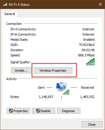 The Wi-Fi Status window from Windows 10