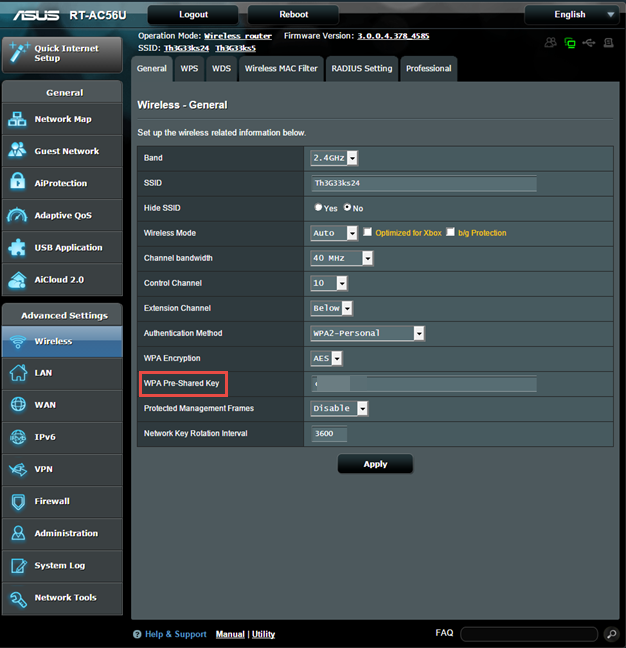 The WiFi details of an ASUS router