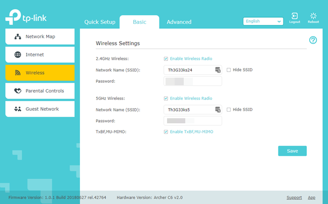 The WiFi details of a TP-Link router