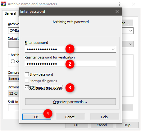Entering the password for the ZIP file and choosing its encryption method