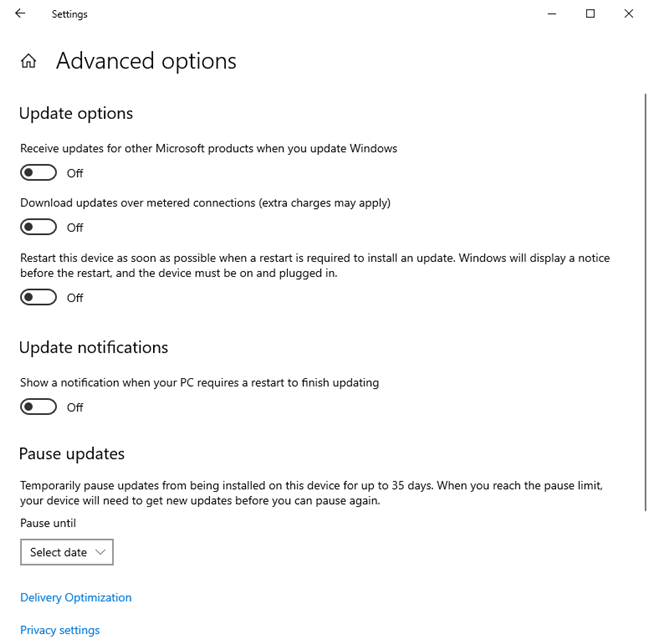 Advanced options for Windows Update